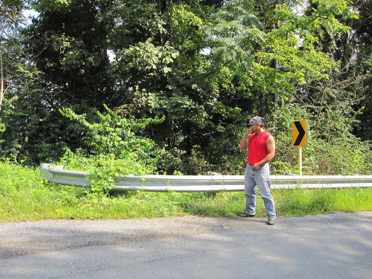 Ed reflecting on his crash site.