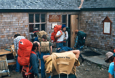 Departing from Lake of the Clouds Hut in the clouds.