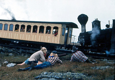 'Indian' raid on the cog railway as hit goes up to Mt. Washington.