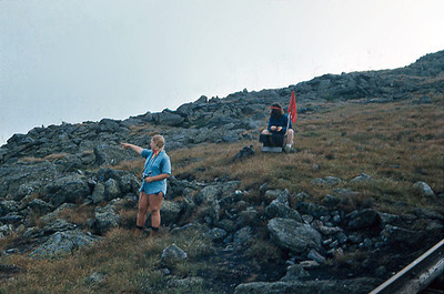 Left: Debbie King. 'Indian' raid on the cog railway as hit goes up to Mt. Washington.