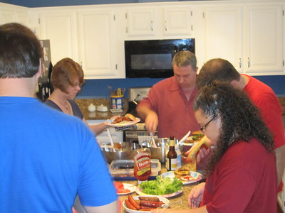 L/R:  Drew (from behind), Annette Farrington, Jim Farrington, Brent Scott and Jessica Langely.