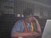 Matt hard at work in the programming trailer