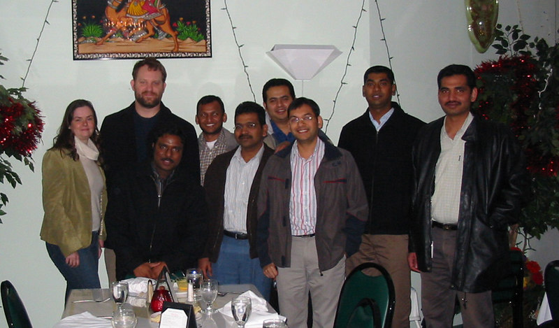 The crew from work (+ Elizabeth), at the Maharaja Restaurant in Madison, WI.  It was the last day for Satish (standing in front of me), so we all went out for lunch.  To my left are: Ramesh, Sudhakar, Harshad, Rahul, Srik, and Pradeep.
