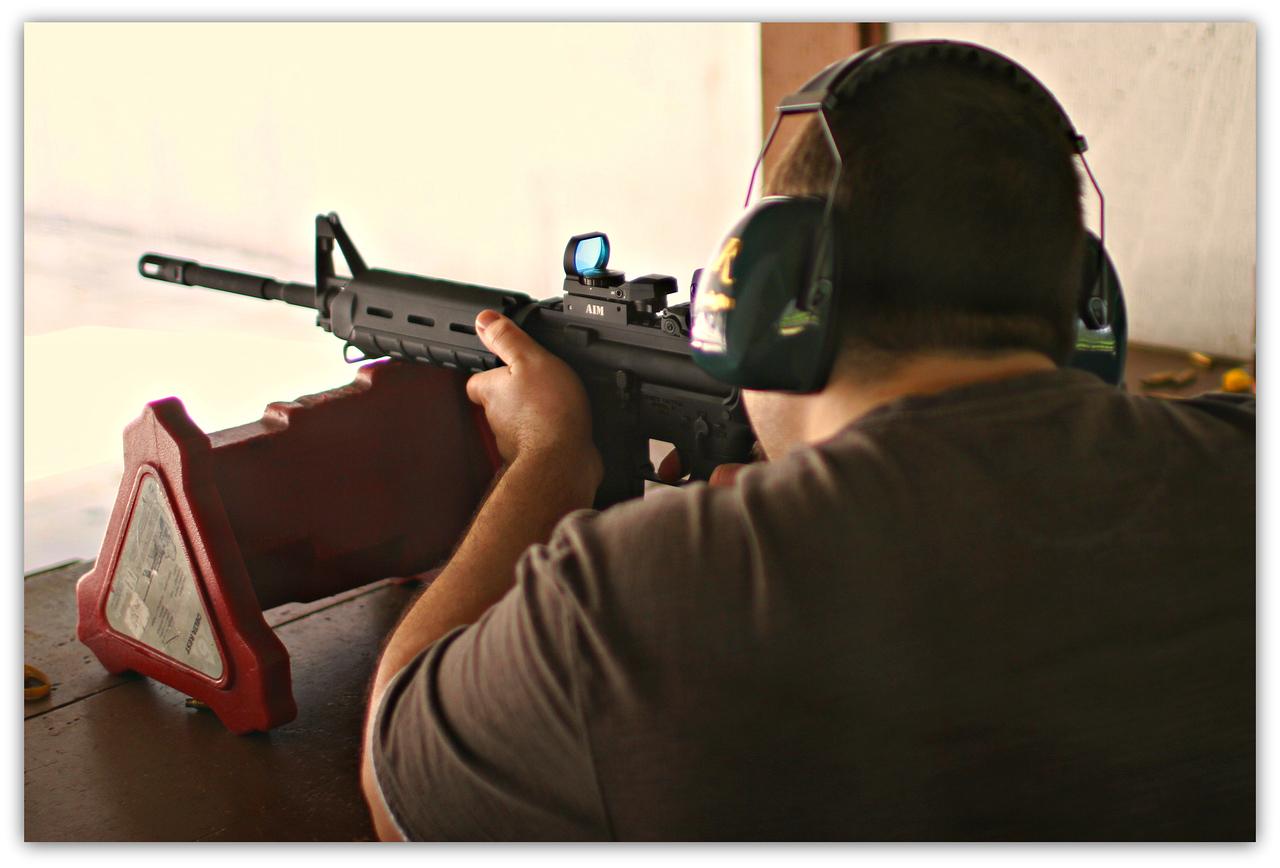 Josh sights the new weapon
