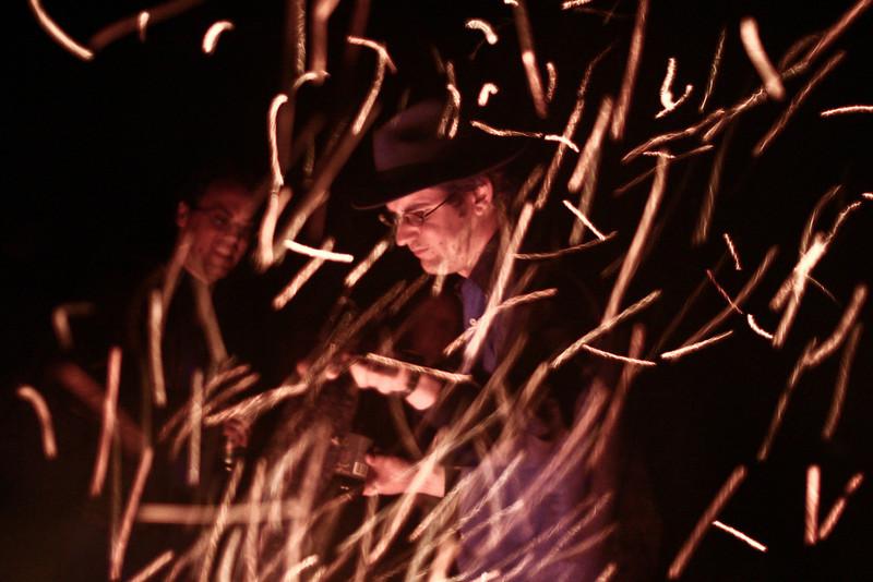 Tim Nicholas across the bonfire at Burning Sheep 2004