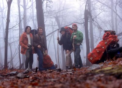 Trail head start  in fog.