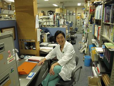 Murakami in his group office, Okinawa, 2/09.