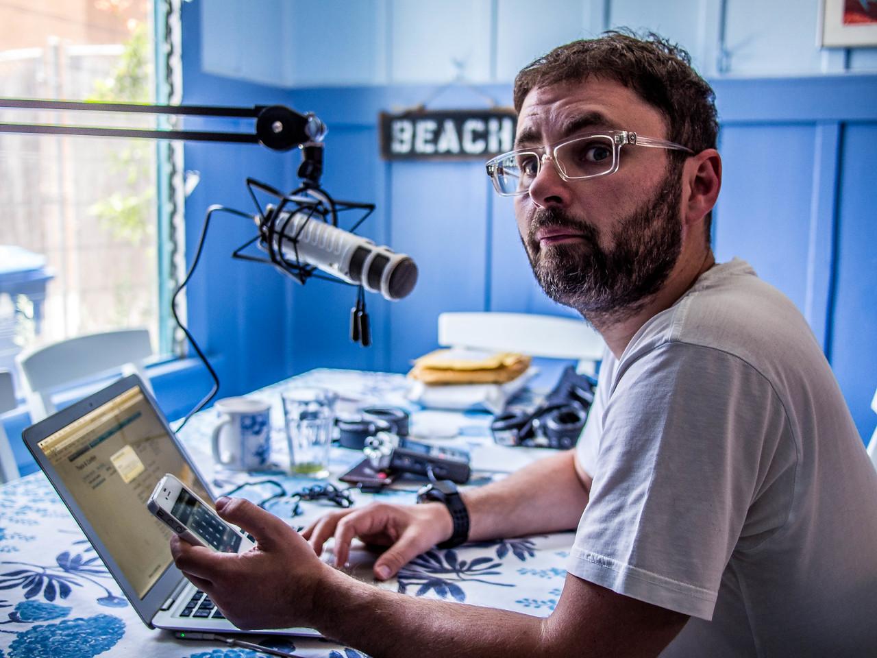 Sergei Klimov records a podcast