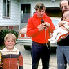 Dad's attention elsewhere - Aaron, Christopher and Steve Szalaj, Randy Coe with eldest - June 1983