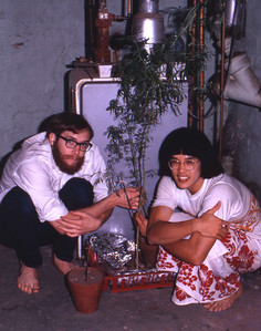 crawford & me in basement with plants '74