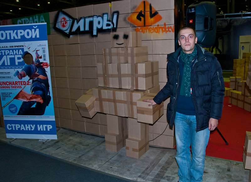 Alexander Kuzmenko from Igromania at Gameland booth at Igromir 2009