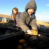 "Maitreya Rose, left, and  her stepbrother Truen MacKinnon, 6, gather up squash for the pigs.<br /> Mike MacKinnon does the evening chores with his children on Frog Belly Farms in Boulder County. For more photos of the farm, go to  <a href=""http://www.dailycamera.com"">http://www.dailycamera.com</a><br /> Cliff Grassmick / December 16, 2010"