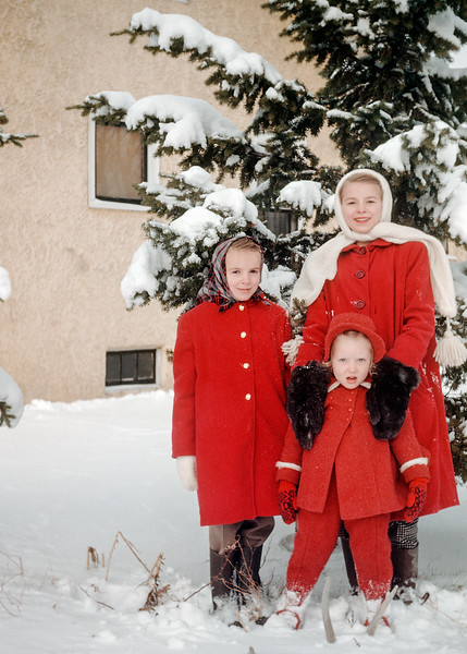 Alberta, Evelyn and Judy in new winter coats.