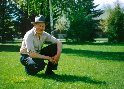 Gert kneeling on grass in 1948. The more I work with my grandmother Hazel's Kodachromes the more I appreciate her talent for impromptu people pictures.