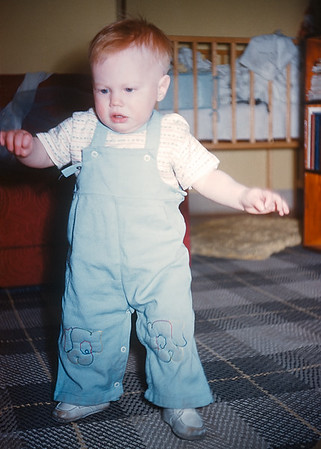 One of Hazel's Kodachromes of me taking early steps. The expression on my face reminds me of how I felt taking my first steps after my quadriceps repair. Walking, it's not overrated!