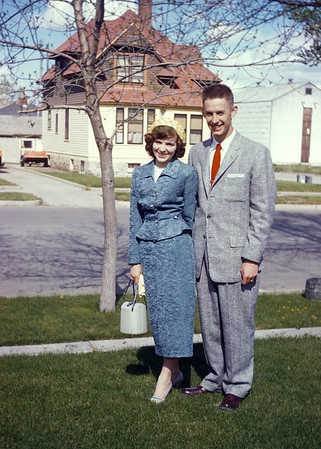 My aunt Alberta and uncle Bill Drake around the time Bill finished his chemistry Ph.D.  Bill had a distinguished career and rose to high levels in a major chemical company.  He died suddenly of a heart attack in Korea in the middle of a business dinner.  I last saw Alberta the week my mother died. She is now living in Ohio with one of my cousins.