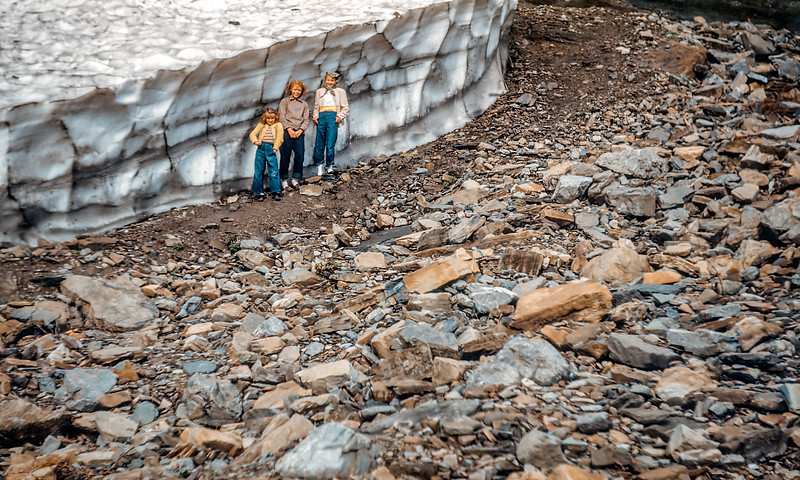Alberta, Janey Adkins, and my mother Evelyn below a retreating glacier in Glacier National Park. I don't know which glacier they are beside. It would be interesting to go back to this spot and see where the ice is today.