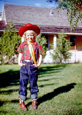 Hazel snapped this Kodachrome slide of Judy rocking a red hatted cowboy suit in 1955. Judy was the daughter of my grandmother Hazel's sister Elsie; making her a distant cousin.