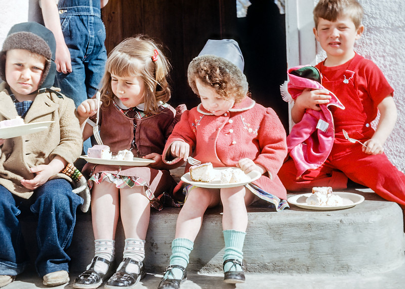 Children eating cake on a porch. I'm a bit envious of some of Hazel's best kid pictures. She had a knack for putting chilren at ease.