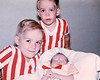 My cousins Dean, Dale and baby Darrin in 1965. My aunt Alberta was fond of color coordinating her sons. I'm sure they were delighted.