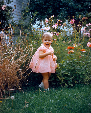 Aileen, around the time she started walking in a flower garden. Hazel's original Kodachrome slide has retained its colors despite six decades of neglect. Let's hear it for stable film emulsions.