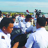 Student pilots carry the body of Captain Jessup Bahinting who died in a plane crash in Masbate.  Bahinting's remains arrived at the Mactan Cebu International Airport from Masbate on Thursday, August 23, 2012, a day after his body was retrieved off Masbate. He died together with DILG Secretary Jesse Robredo and Nepalese co-pilot Kshitiz Chand. (Allan Cuizon)