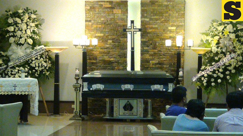 Casket bearing the remains of Piper Seneca pilot Captain Jessup Bahinting at the St. Peter's Funeral Homes in Cebu City, Philippines. (Sunnex)