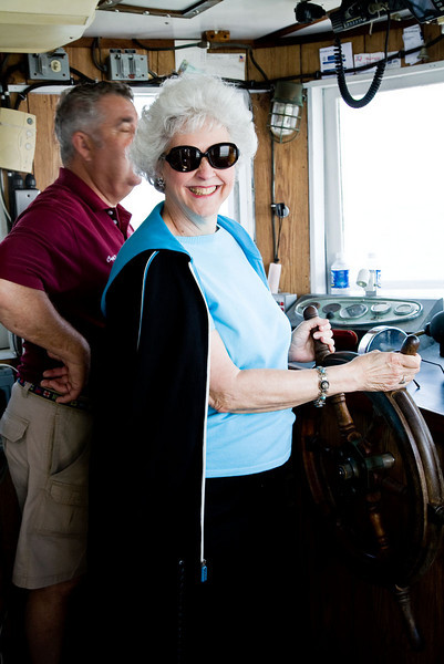 Joyce Tyndall Faucette takes the controls.