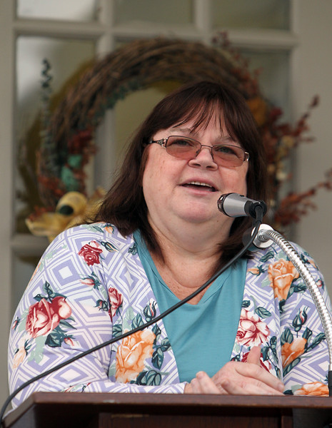 Dedication of Harvey J. Gagnon Harmony Hall. State Rep. Colleen Garry of Dracut tells of her memories of Harvey Gagnon. (SUN/Julia Malakie)
