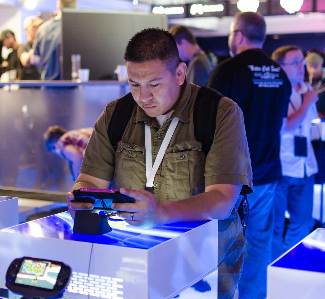 Gamer with PS Vita at E3 2012