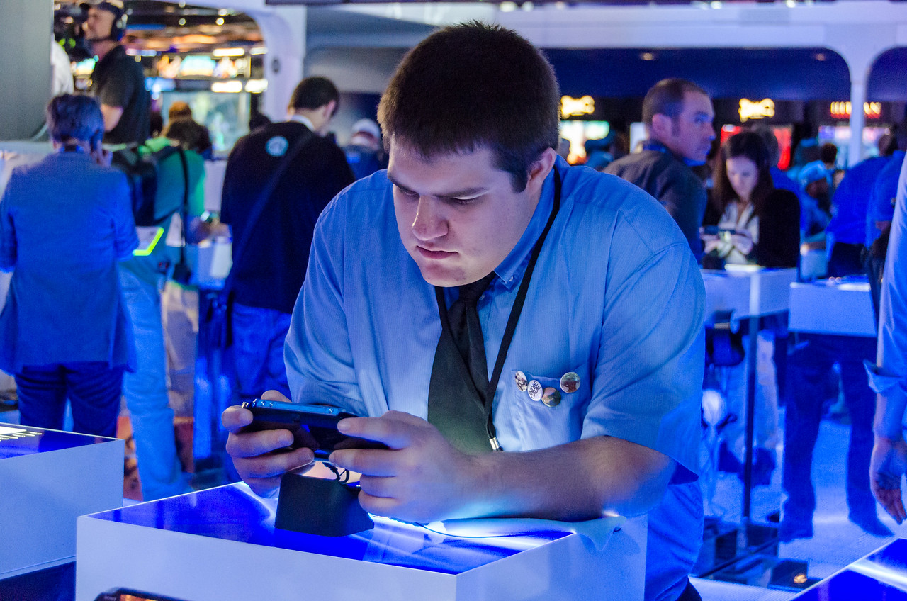Gamer with PS Vita at E3 2012
