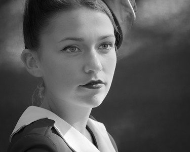 Glam Cabs Girl Portrait BW - The Goodwood Revival 2018