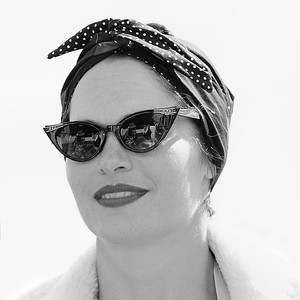 Polka Dot Scarfed and Shaded BW- Goodwood Revival 2015
