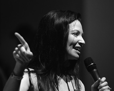 Woman Presenter 2 bw at the Goodwood Festival of Speed 2016