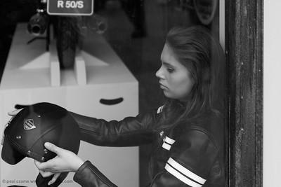 Biker Girl in Window - 1950 BMW R 50-S - The Goodwood Revival 2018