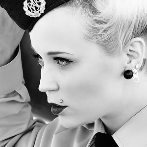 Green Eyed Pose in uniform with RAF Other Ranks Cap Badge - Goodwood Revival 2015