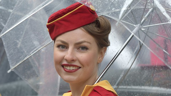 Glamcabs Girl under a Brolly - The Goodwood Revival 2017