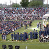 Graduating students line up to receive diplomas during the Citrus Hill High School 2013 commencement in Perris, California.