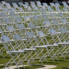 Empty chairs awaiting for graduating students during the Citrus Hill High School 2013 commencement in Perris, California.