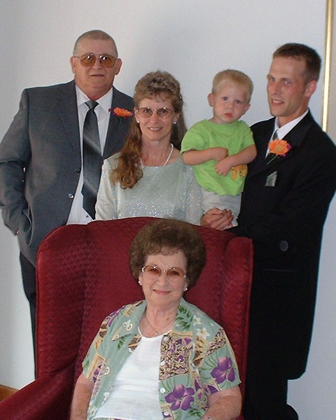 5 generation photos with Gene (Cyndy's dad), Cyndy, Andrew (Cyndy's grandson), Jason (Cyndy's son), and Irene (Cyndy's grandmother and Gene's mother).