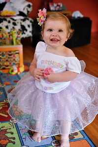 Beautiful girl in her 1st birthday party dress.