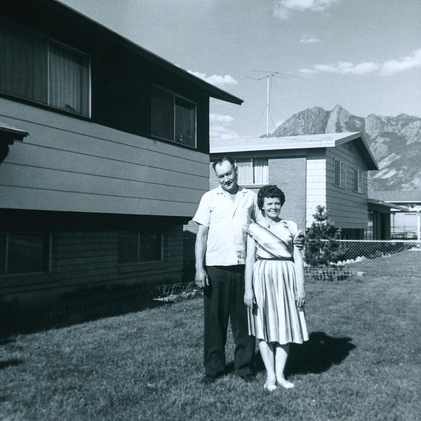 Gert and Hazel on the front lawn of our Salt Lake City house in 1962.  My siblings and I always looked forward to grandparent visits. They were just more fun than our parents.