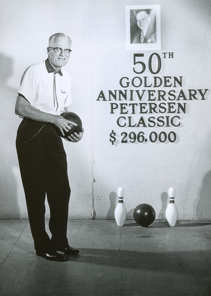 My grandfather Frank was an excellent bowler, golfer, and pool player. He partly financed his honeymoon with my grandmother Helen by pool hustling. She didn't find out until much later. This picture was taken in 1971: the 50th anniversary of the Peterson Classic. Frank was 73 at the time and suffered from Buerger's Disease but his bowling was still good enough to compete in bowling tournaments.