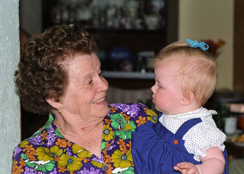Hazel meets Helen.  When my daughter was just six months old we took her out west to meet her great grandparents.