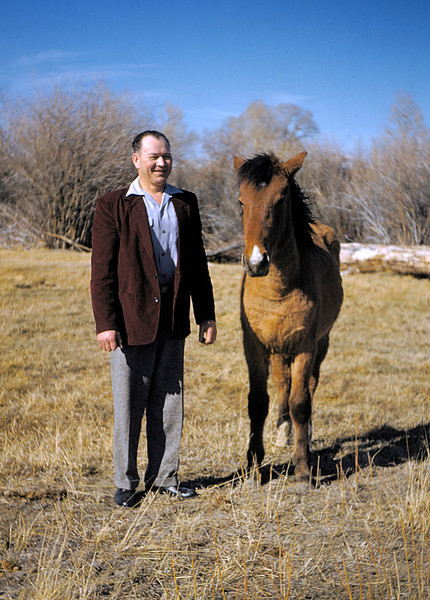 My grandfather Gert with my aunt's horse.