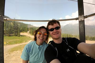 Riding up the Whistler village gondola to the Roundhouse lodge.
