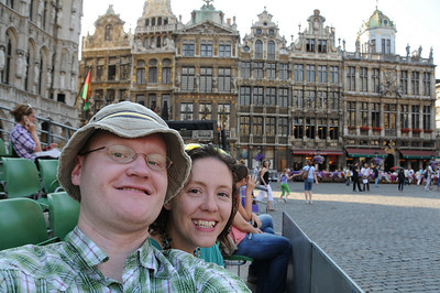 Self-portrait in the stands set up in the Grand Place of Brussels. Guild halls from 1695-ish are in the background. The reason they are all from 1695 is because during the French bombardment of 1695 they were destroyed, because the French were trying to demonlish the Hotel de Ville (the building just barely visible in the left of the photo). Sadly, all the surrounding buildings were destroyed, but the Hotel de Ville, built in 1402, survived unscathed.