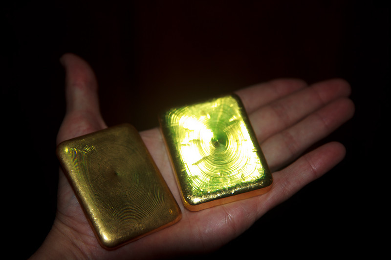 These two blocks of gold together weigh a kilogram.  According to the miners, if they continued with artisanal mining there would be gold for 400 or 500 more years, while the multinationals want to remove it in 15 years.
