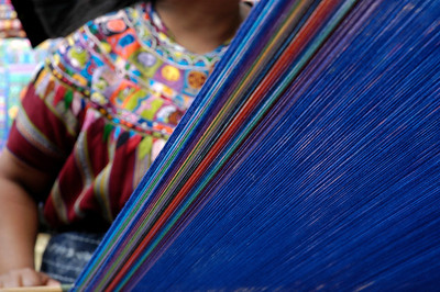 In Guatemala many people make a living weaving very colorful items of apparel.  They are for themselves and for tourists as well.   ©Gerald Diamond All rights reserved