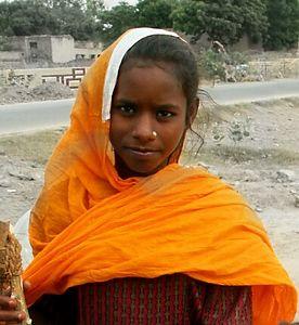 Girl of a Gypsy Encampment outside of Ferozpur, Punjab. North India.